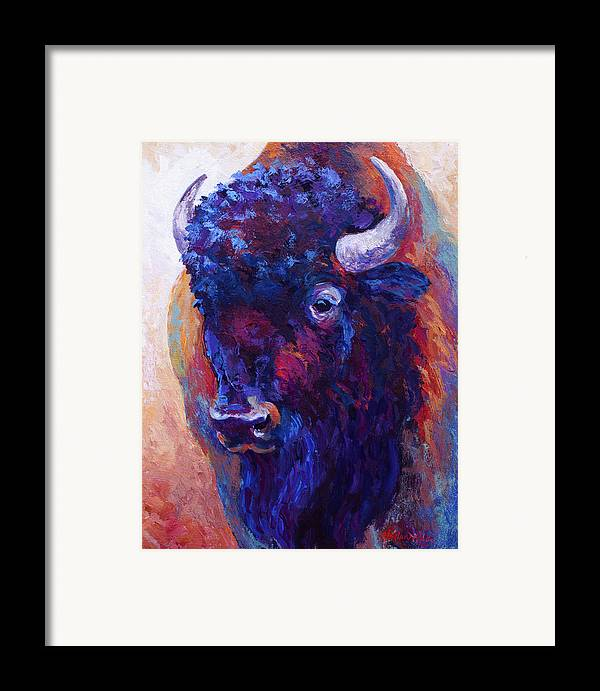 Bison Framed Print featuring the painting Thunder Horse by Marion Rose