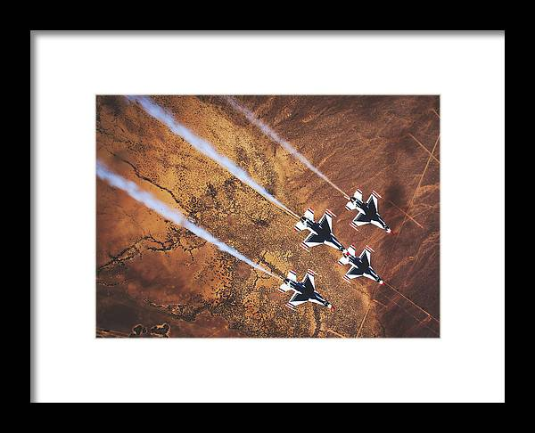Usaf Framed Print featuring the photograph Thunderbirds In Diamond Roll Formation by U S A F