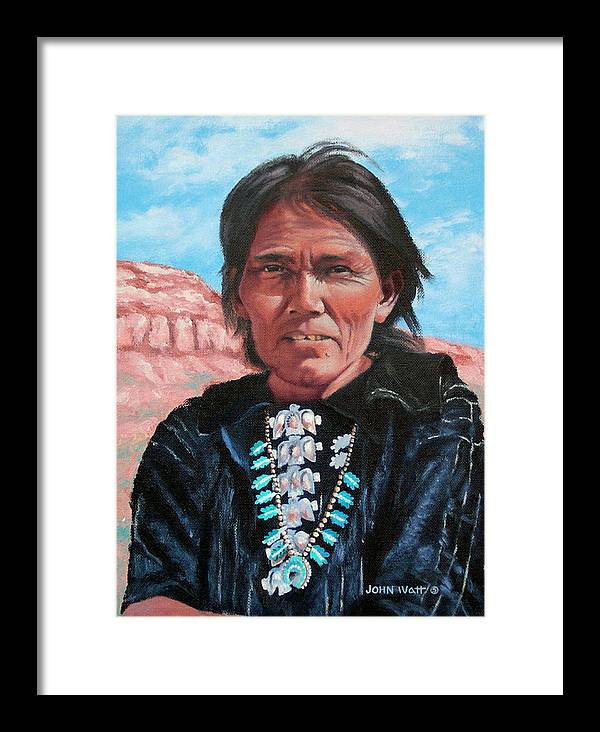 Navajo Indian Southwestern Monument Valley Framed Print featuring the painting Thunderbirds by John Watt