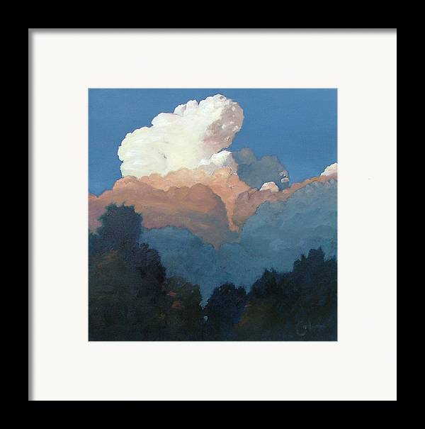 Cloud Framed Print featuring the painting Thundercap Rising In Santa Fe by Gary Coleman