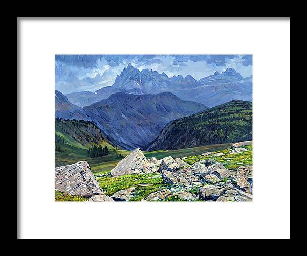 Wyoming Landscape Framed Print featuring the painting Thunderheads at Fox Creek Pass by Steve Spencer