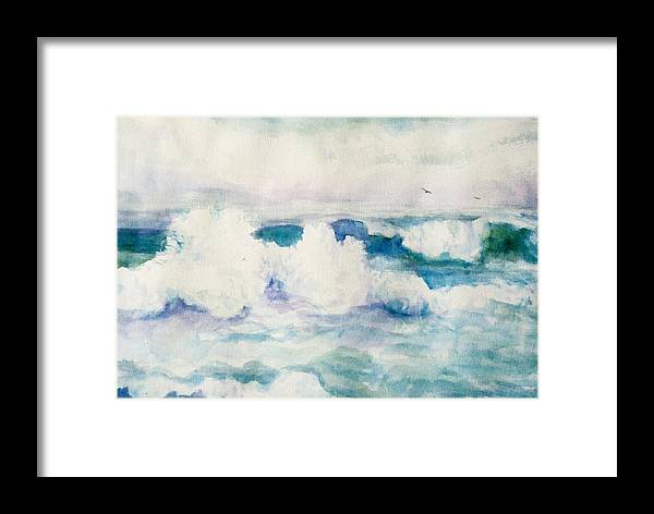 Pacific Ocean Framed Print featuring the painting Thundering Breakers by Ruth Mabee