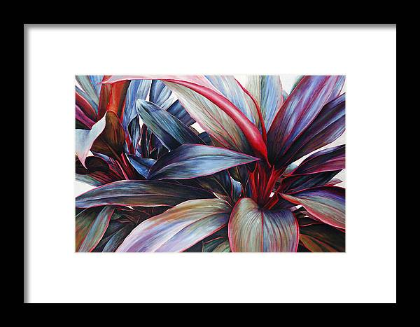 Acrylic Framed Print featuring the painting Ti In Blue by Sandra Blazel - Printscapes