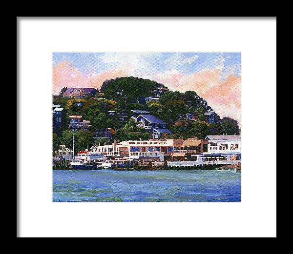 Landscape Framed Print featuring the painting Tiburon California Waterfront by Frank Wilson