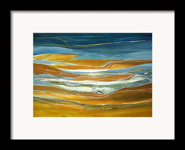 Contemporary Painting;earth Tones;linear Painting;rocks;water; Framed Print featuring the painting Tidal Flow by Lois Mountz