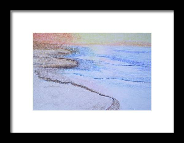 Landscape Framed Print featuring the drawing Tide Is Out by Suzanne Udell Levinger