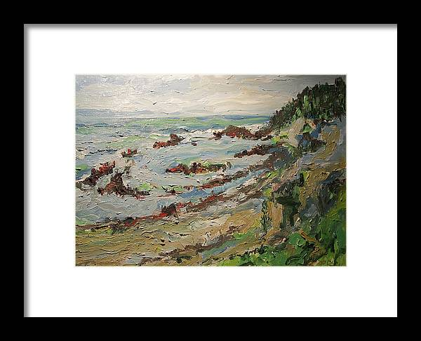Landscape By The Pacific Ocean Framed Print featuring the painting Tide Pools At Princeton by Pat Gray