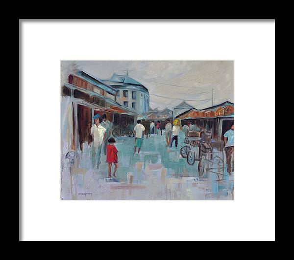 Taipei Villages Framed Print featuring the painting Tien Mou Village Taipei by Ginger Concepcion