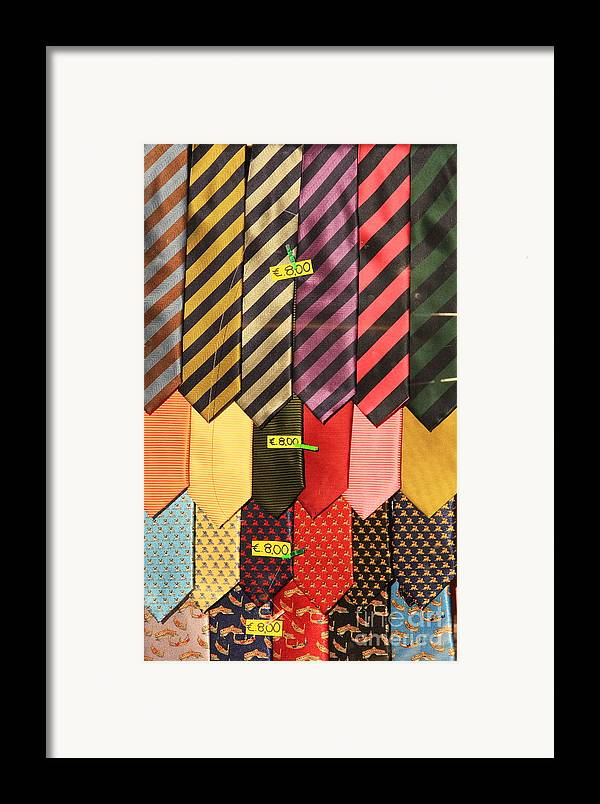 Neck Ties Framed Print featuring the photograph Ties In Shop Window In Venice by Michael Henderson