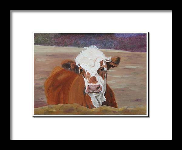 Cow Calf Farmscene Framed Print featuring the painting Tiffany by Paula Emery