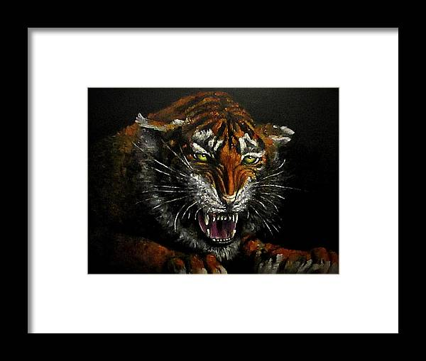 Animal Framed Print featuring the painting Tiger-1 Original Oil Painting by Natalja Picugina