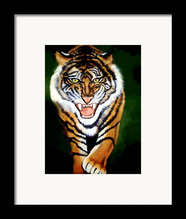 Tiger Framed Print featuring the painting Tiger Charging by Darlene Green