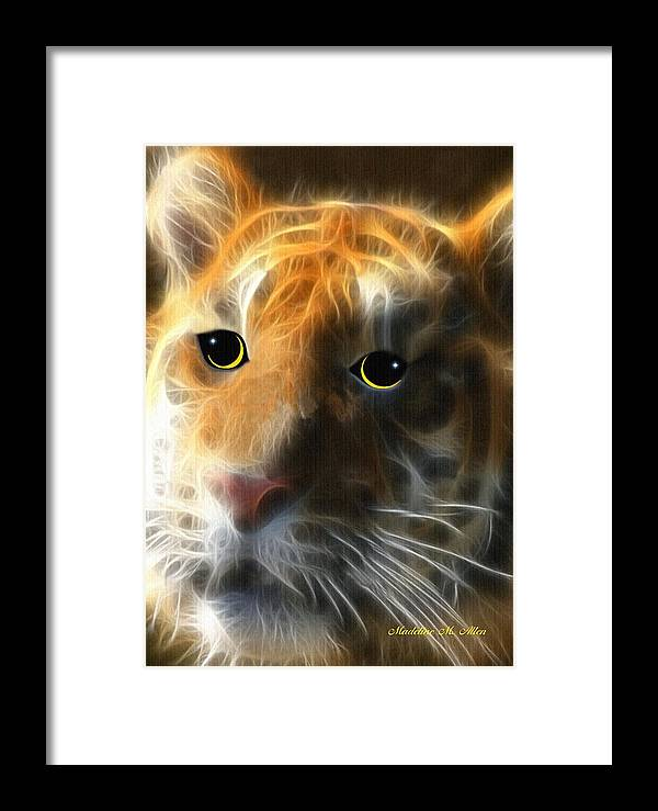Smudgeart Framed Print featuring the digital art Tiger Cub by Madeline Allen - SmudgeArt