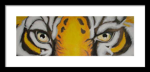 Tiger Framed Print featuring the painting Tiger Eyes by Glory Fraulein Wolfe