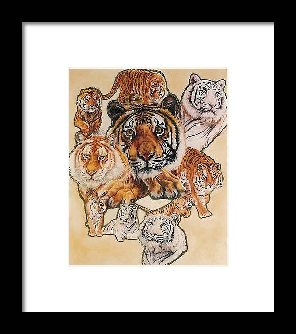 Tiger Framed Print featuring the pastel Tiger Haven by Barbara Keith