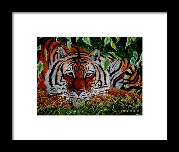 Tiger Framed Print featuring the painting Tiger In Jungle by Nick Gustafson