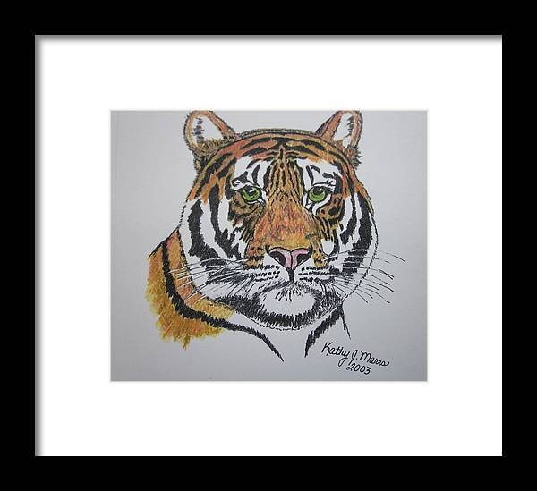 Bengal Framed Print featuring the painting Tiger by Kathy Marrs Chandler