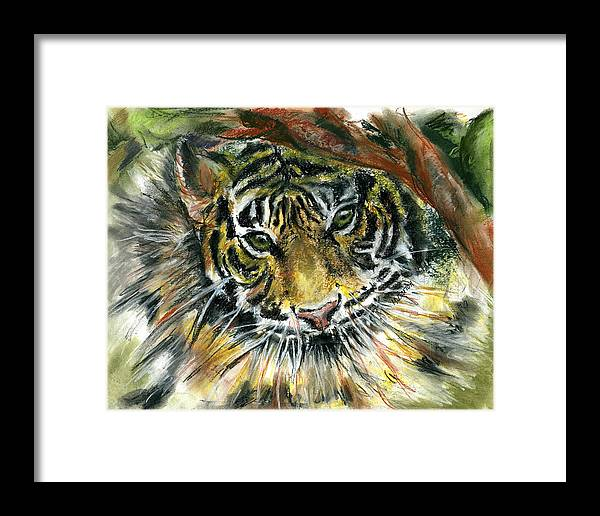Tiger Framed Print featuring the painting Tiger by Marilyn Barton