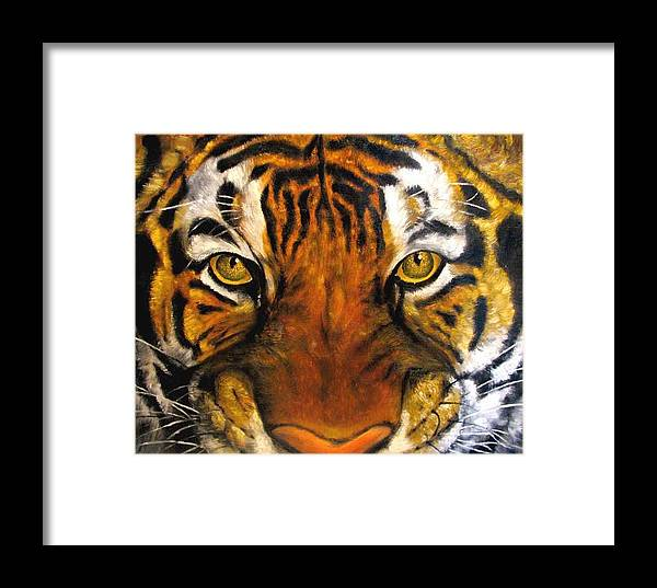 Tiger Framed Print featuring the painting Tiger Mask Original Oil Painting by Natalja Picugina
