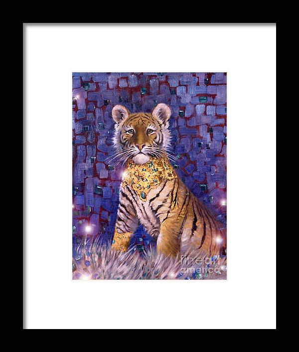 Young Tiger Framed Print featuring the painting Tiger Royal by Silvia Duran