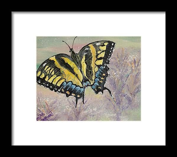Butterfly Framed Print featuring the painting Tiger Swallowtail by Mikki Alhart