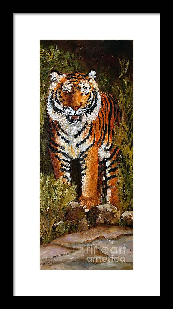 Tiger Framed Print featuring the painting Tiger Wildlife Art by Mary Jo Zorad