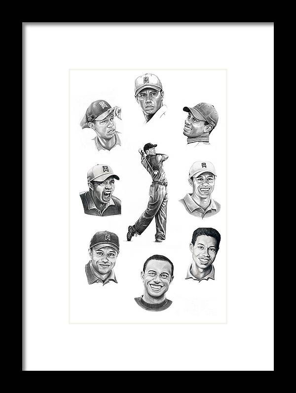 Tiger Woods Framed Print featuring the drawing Tiger Woods-murphy Elliott by Murphy Elliott
