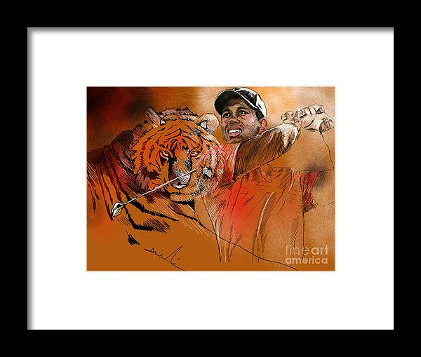 Golf Art Painting Portrait Tiger Woods Aninla Tiger Framed Print featuring the painting Tiger Woods Or Earn Your Stripes by Miki De Goodaboom