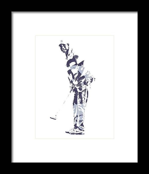 Tiger Woods Pga Golf Pro Pixel Art 2 Framed Print by Joe Hamilton