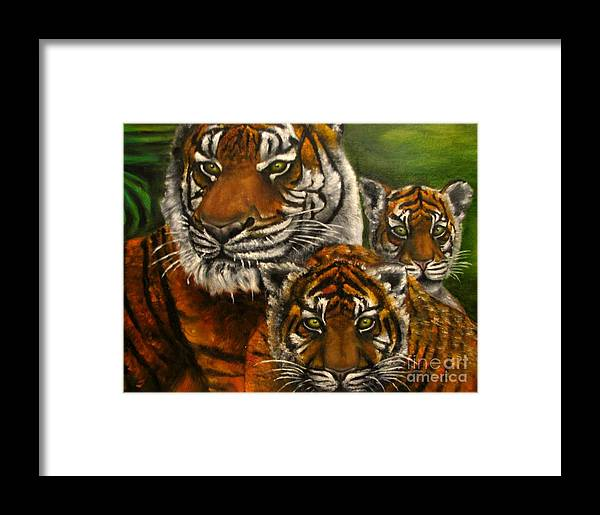 Animals Framed Print featuring the painting Tigers Family Oil Painting by Natalja Picugina