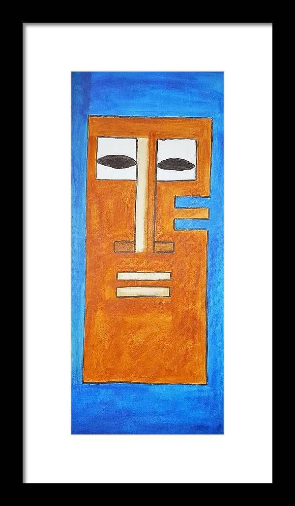Beautiful Blue Family Mast African Art Painting Canvas Nyc Life Love Gold Amazing Awsom Framed Print featuring the painting Tikki Mask by Shanice Figeroux
