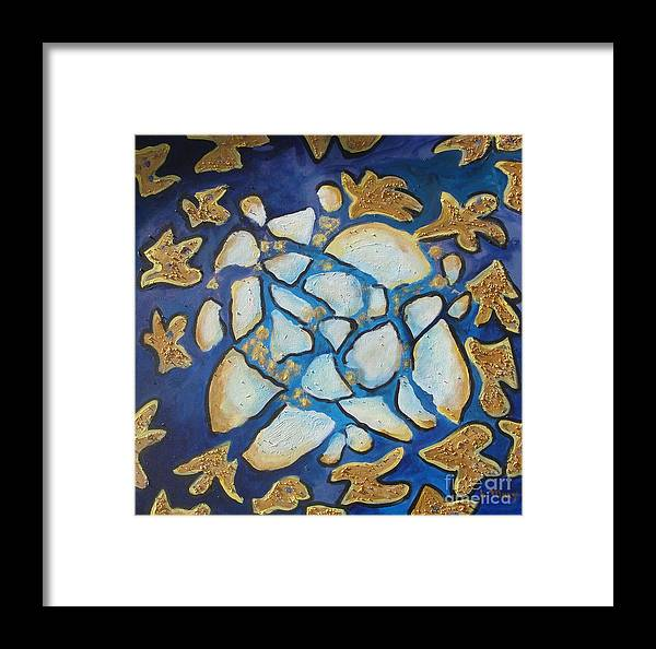 Abstract Framed Print featuring the painting Tikkun Olam Heal The World by Laurie Morgan