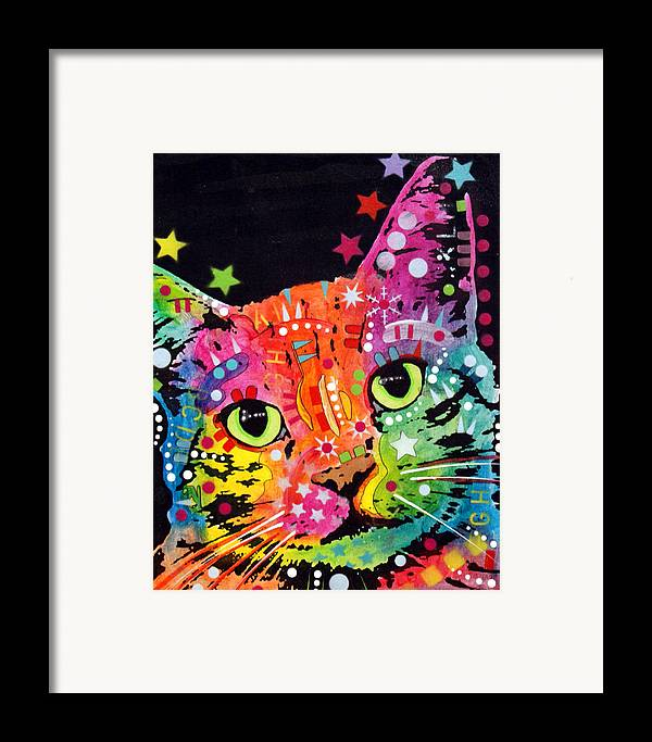 Dean Russo Framed Print featuring the painting Tilted Cat Warpaint by Dean Russo