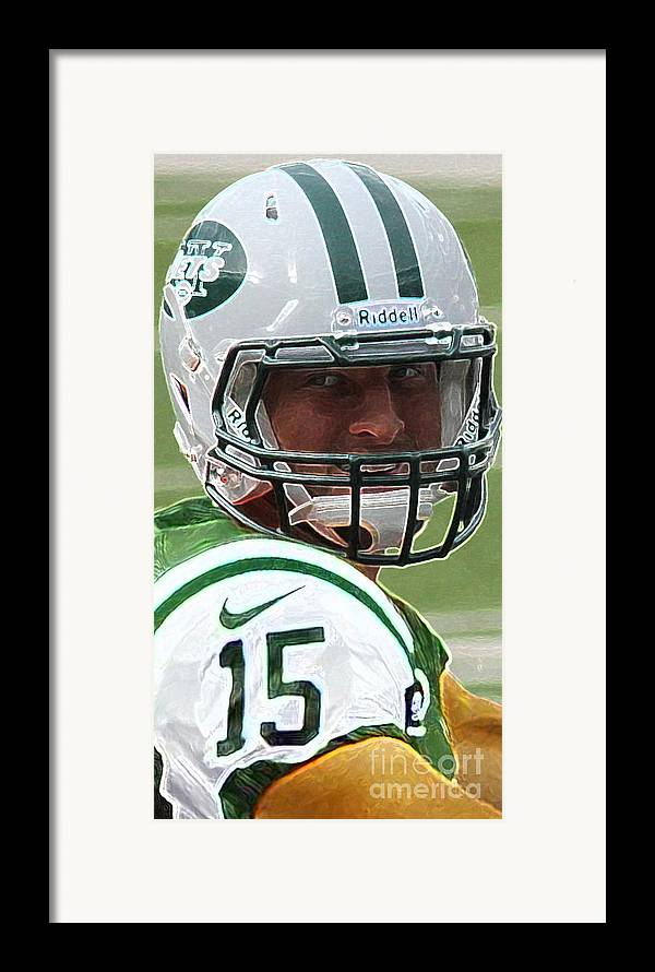 Lee Dos Santos Framed Print featuring the photograph Tim Tebow Art Deco - New York Jets - by Lee Dos Santos