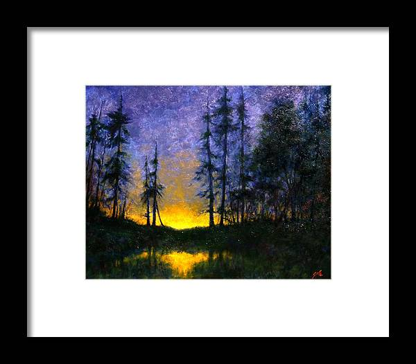 Landscape. Nocturn Framed Print featuring the painting Timberline by Jim Gola