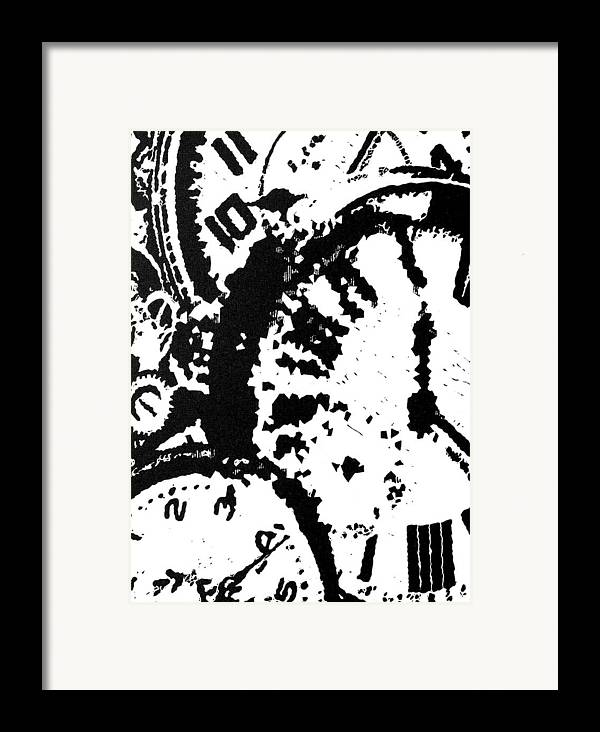 Black Framed Print featuring the painting Time -- Hand-pulled Linoleum Cut by Lynn Evenson