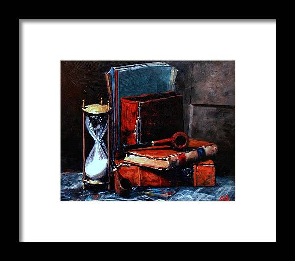 Still Life Painting Framed Print featuring the painting Time and Old Friends by Jim Gola
