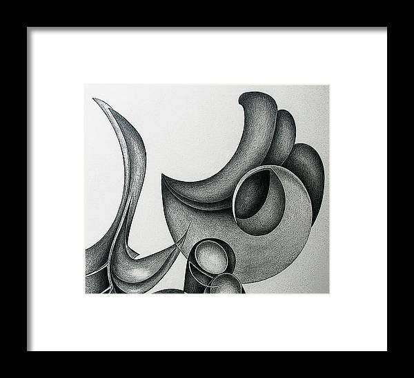Drawing Framed Print featuring the drawing Time Dial by Lonnie Tapia