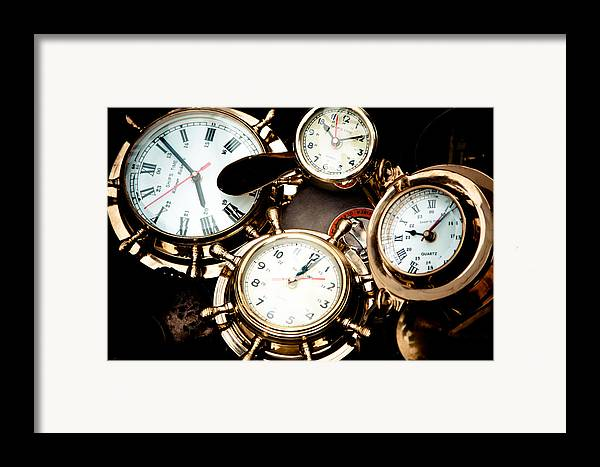 Old; Antique; Retro; Background; Style; Art; Decor; Decorating; Decoration; Grunge; Antiquities; Object; Old-fashioned; Classic; Collection; Valuable; Junk; Together; Gathered; Clock; Time; Watch; Metal; Vintage; Framed Print featuring the photograph Time by Gabriela Insuratelu