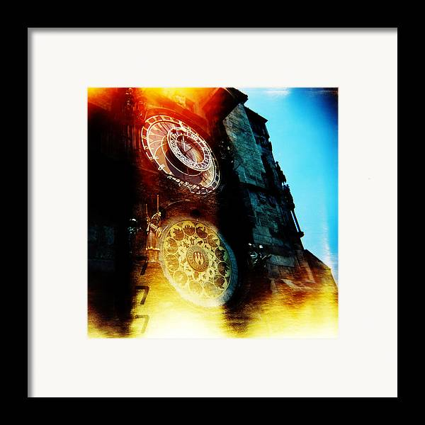 Clock Time Holga Color Photograph Praha Framed Print featuring the photograph Time Is Burning by Olivier De Rycke