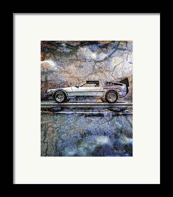 Back To The Future Framed Print featuring the digital art Time Machine Or The Retrofitted Delorean Dmc-12 by Bob Orsillo