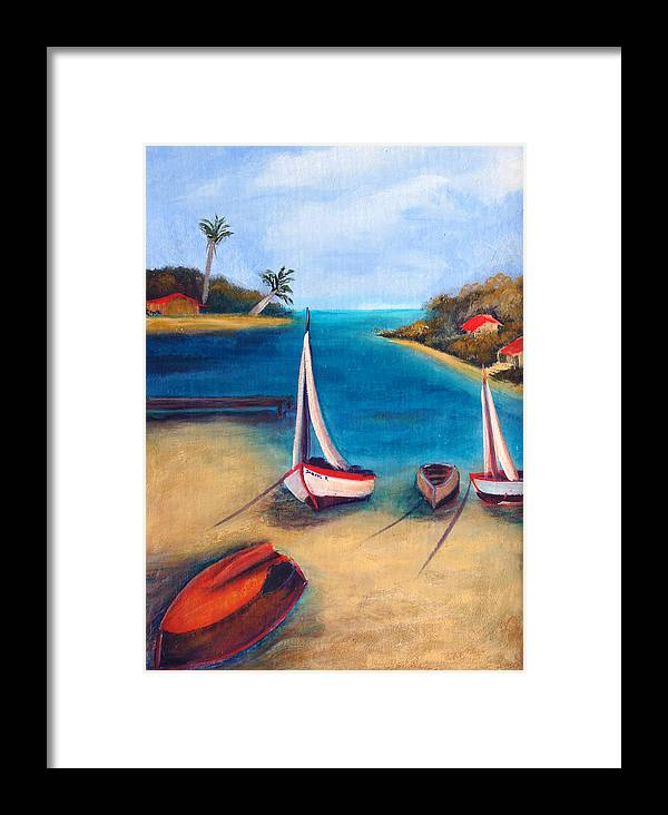 Red Boat Framed Print featuring the painting Time Out by Darlene Green