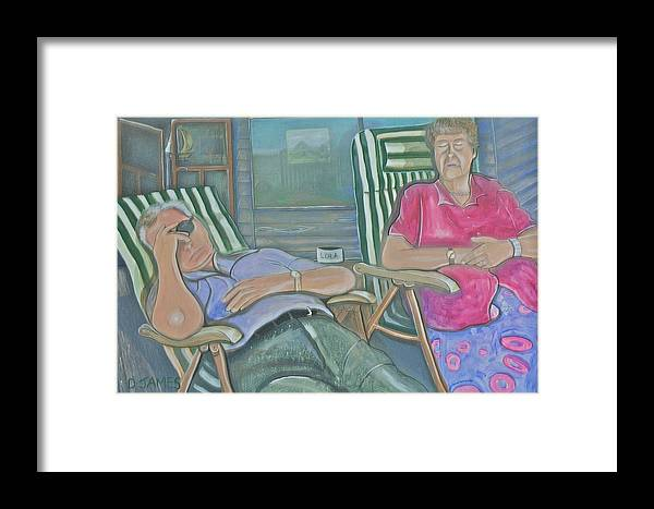 Elderly Couple Framed Print featuring the painting Time Out by Duncan James