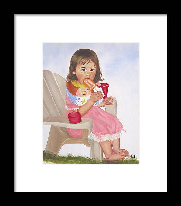 Child Framed Print featuring the painting Time Out For Ice Cream by Joni McPherson