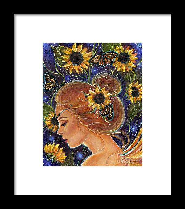 Sunflower Art Framed Print featuring the painting Time to be free by Renee Lavoie