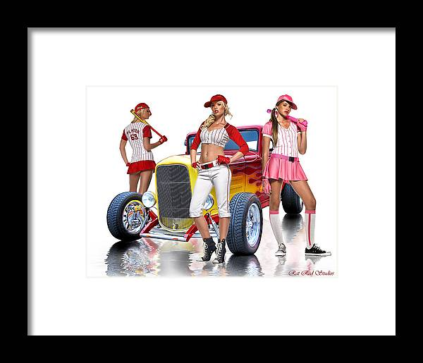 Hot Rod Framed Print featuring the digital art Time To Play Ball .... by Rat Rod Studios