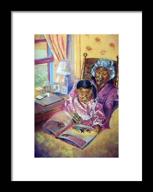 Children Framed Print featuring the pastel Time Well Spent by Tommy Winn