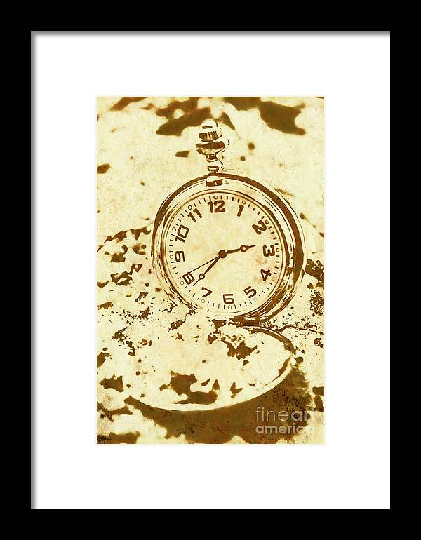 Vintage Framed Print featuring the photograph Time Worn Vintage Pocket Watch by Jorgo Photography - Wall Art Gallery