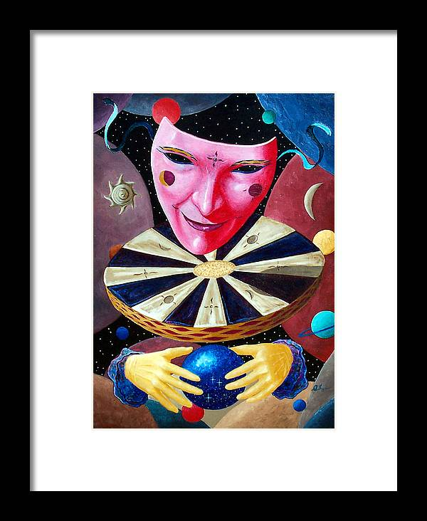 Face Framed Print featuring the painting Timekeeper by Daniel Bergren