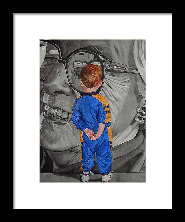 Children Framed Print featuring the painting Timeless Contemplation by Valerie Patterson